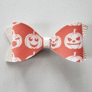 Halloween pumpkin leather hairbow